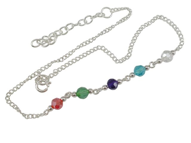 Sterling Silver 5mm Multi Colour Crystal Anklet 24-27cm