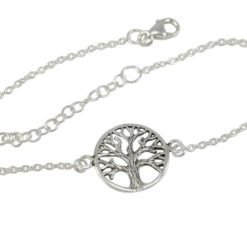 Sterling Silver 14mm Tree Of Life Bracelet 16-19cm