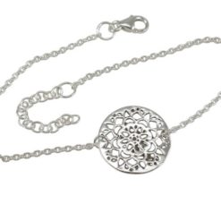 Sterling Silver 15mm Round Filigree Flower Bracelet 16-19cm