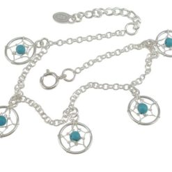 Sterling Silver 10mm Blue Turquoise Dream Catcher Bracelet 16-19cm