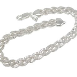 Sterling Silver 6mm Plaited Box Chain Bracelet 19cm