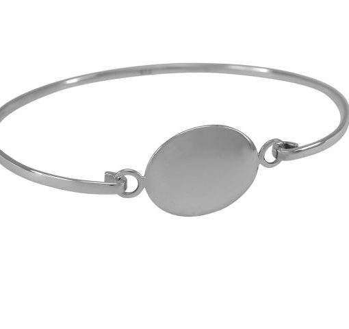 Sterling Silver 15x18mm Oval Domed Disc Bangle 60x50mm
