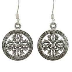 Sterling Silver 16mm Round Fancy Drop Earrings