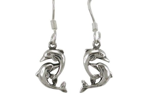 Sterling Silver 12x8mm Double Dolphin Drop Earrings