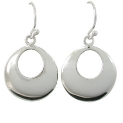Sterling Silver 16mm Round Domed Drop Earrings