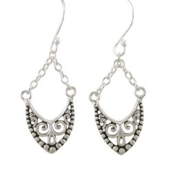 Sterling Silver 25x12mm Bohemian Style Drop Earrings