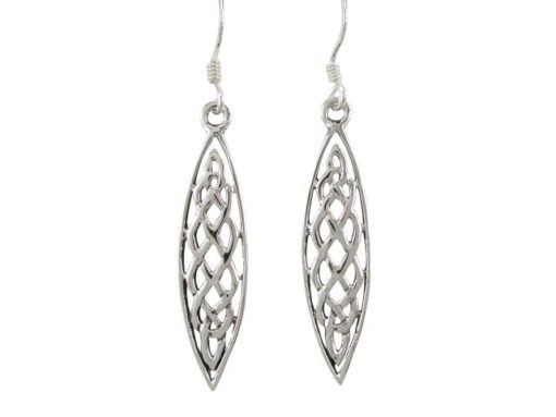 Sterling Silver 30x8mm Marquise Celtic Drop Earrings