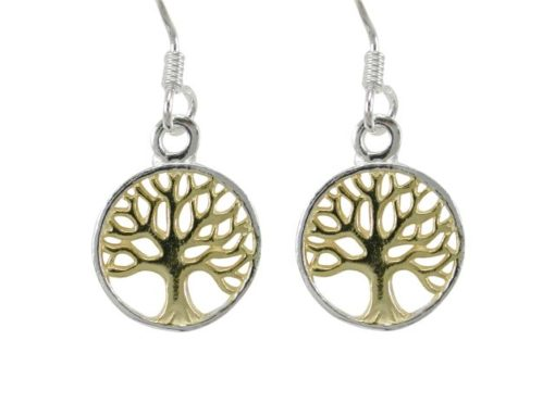 Sterling Silver 11mm Round Gold Plated Tree Of Life Drop Earrings