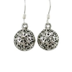 Sterling Silver 10mm Filigree Ball Drop Earrings