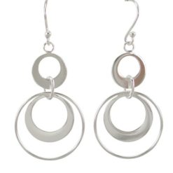 Sterling Silver 32x21mm Circles Drop Earrings