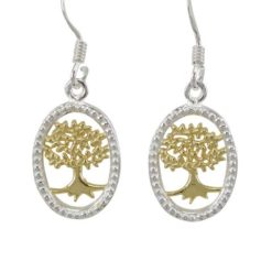 Sterling Silver 15x11mm Oval Gold Plated Tree Of Life Drop Earrings