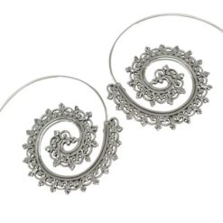 Sterling Silver 43x39mm Bohemian Style Hoop Earrings