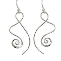 Sterling Silver 35x15mm Spiral Drop Earrings