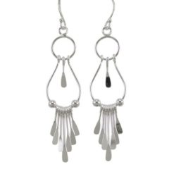 Sterling Silver 45x14mm Gypsy Drop Earrings