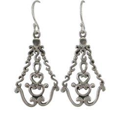 Sterling Silver 25x18mm Scroll Drop Earrings