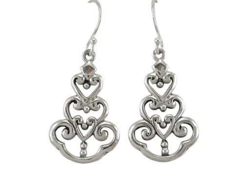 Sterling Silver 23x16mm Scroll Drop Earrings