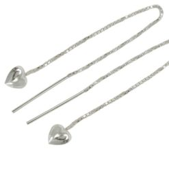 Sterling Silver 6mm Puff Heart Thread Earrings 50mm Drop