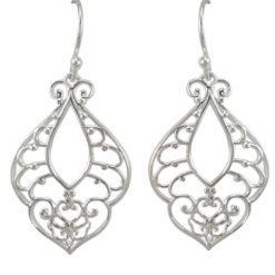 Sterling Silver 27x18mm Filigree Bohemian Style Drop Earrings