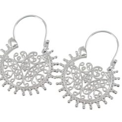 Sterling Silver 27x36mm Filigree Bohemian Style Drop Earrings