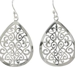 Sterling Silver 30x24mm Teardrop Filigree Drop Earrings