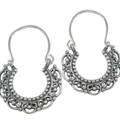 Sterling Silver 30x21mm Oxidised Gypsy Style Hook Earrings