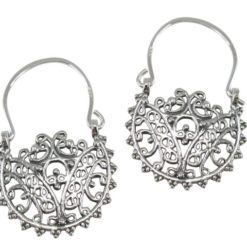Sterling Silver 30x20mm Oxidised Gypsy Style Hook Earrings