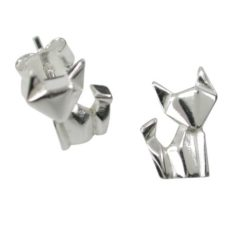 Sterling Silver 11x7mm Origami Cat Stud Earrings