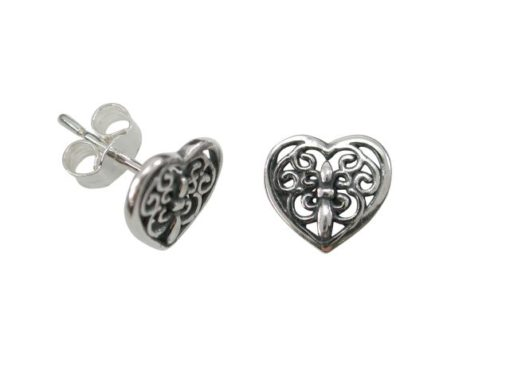 Sterling Silver 9x8mm Filigree Heart Stud Earrings