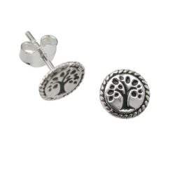 Sterling Silver 8mm Rope Edge Tree Of Life Stud Earrings