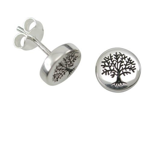 Sterling Silver 8mm Tree Of Life Stud Earrings