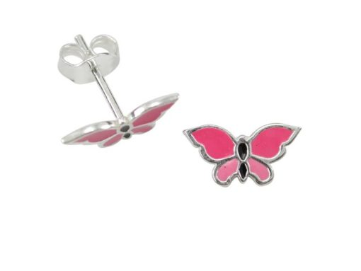 Sterling Silver 11x6mm Pink Enamel Butterfly Stud Earrings