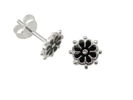 Sterling Silver 8mm Black Flower Stud Earrings