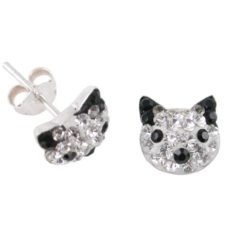 Sterling Silver 8mm Black Crystal Cat Stud Earrings