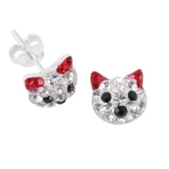Sterling Silver 8mm Red Crystal Cat Stud Earrings