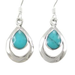 Sterling Silver 15x11mm Teardrop Blue Turquoise Drop Earrings