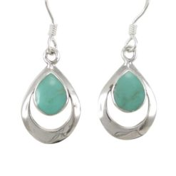 Sterling Silver 15x11mm Teardrop Green Turquoise Drop Earrings
