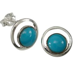 Sterling Silver 11mm Round Blue Turquoise Stud Earrings