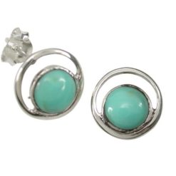 Sterling Silver 11mm Round Green Turquoise Stud Earrings