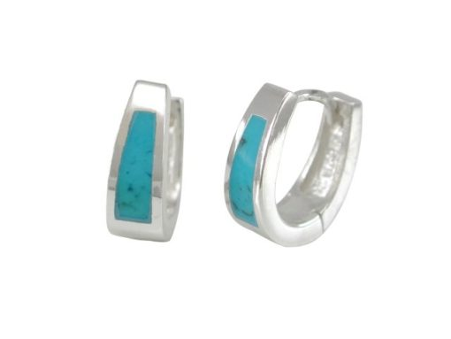 Sterling Silver 5x12mm Blue Turquoise Huggie Earrings