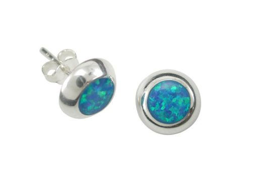 Sterling Silver 9mm Round Blue Synthetic Opal Stud Earrings
