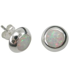 Sterling Silver 9mm Round White Synthetic Opal Stud Earrings