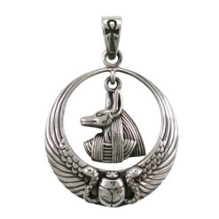 Sterling Silver 29mm Egyptian Anubis & Scarab Pendant