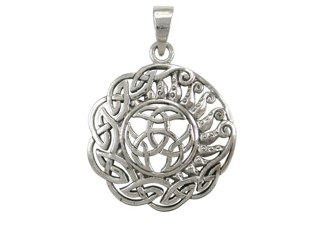 Sterling Silver 28mm Round Celtic Pendant