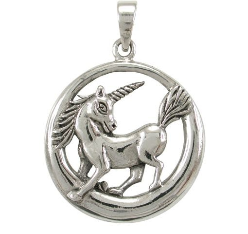 Sterling Silver 30mm Unicorn In Circle Pendant