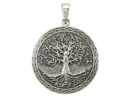 Sterling Silver 30mm Round Tree Of Life Celtic Pendant