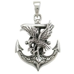 Sterling Silver 30x21mm Eagle & Anchor Pendant