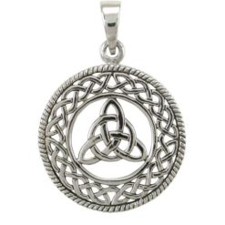 Sterling Silver 26mm Round Triquetra (triqueta, Trinity Knot) Celtic Pendant