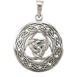 Sterling Silver 27mm Protection Pendant - Pegan Amulet & Celtic Pendant