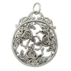 Sterling Silver 34x28mm Celtic Horses Pendant