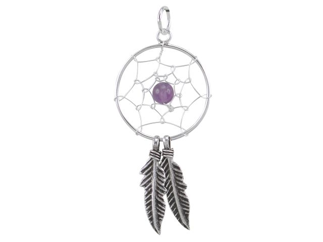 Sterling Silver 35x18mm Amethyst Double Feather Dream Catcher Pendant